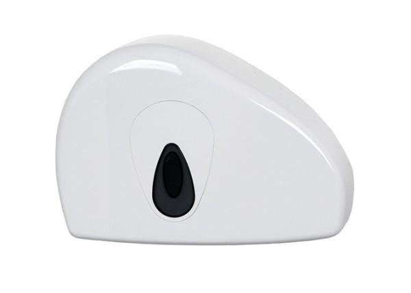 PlastQline mini jumbo roll dispenser with stub roll made of white plastic for wall mounting PlastiQ-line 5534