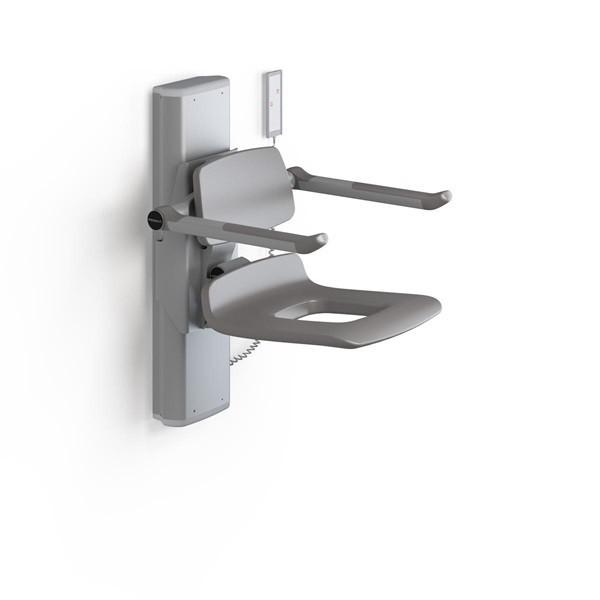 Pressalit shower seat with aperture, motor, backrest and armrests, remote control Pressalit R7471000,R7471112