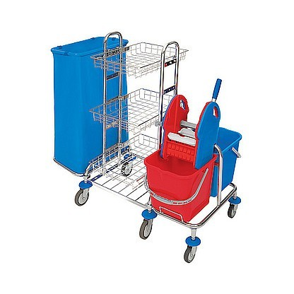 Splast chrome MIDI trolley with wringer, 3 trays and waste bag holder 120l Splast MID-0003