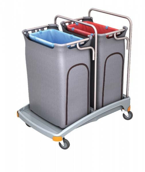 Splast Doppel-Abfallwagen aus Plastik 2 x 120l mit Seitenabdeckung - Deckel optional Splast TSO-0007,TSO-0008