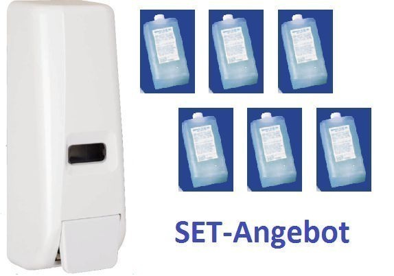 Set Angebot Spender SlimLine 400 mit 6 Packungen Cosmetic Seife Hyprom SA
