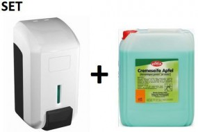 "SET CleanLine Eco ""Gel"" Seifenspender 700 ml + Eilfix Cremeseife Apfel 5 Liter"