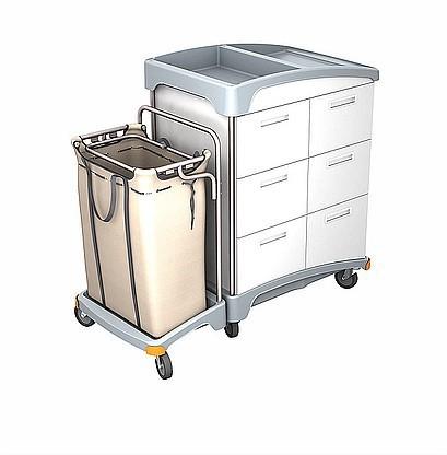 Splast Hotelwagen aus Holz mit 6 Schubladen und Kunststoffbasis mit Leinenbeutel Splast TSH-0007