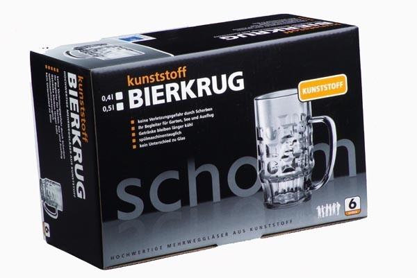 Geschenk-Set: 6 Stk. Bierkrug 0,4l aus Kunststoff + Karton