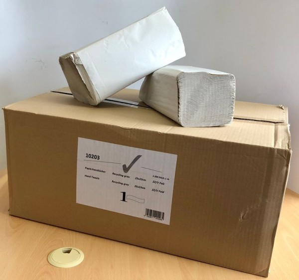 Papierhandtuch, 25x23cm, 1-lagig, hellgrau, ZZ/V-Falz, VE 5000 Stk.
