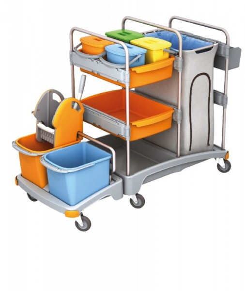 Splast cleaning trolley made of plastic with 6 buckets, wringer and bag holder 120l Splast TSZ-0005