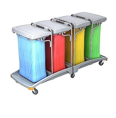 Splast mobile quadruple plastic waste trolley 4 x 120l - lids are included Splast TSO-0014