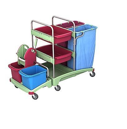 Splast cleaning trolley with 2 x 120l waste bag holders, wringer and shelf Splast TSZA-0019