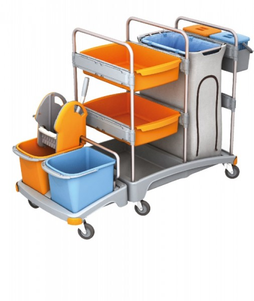Splast mobile cleaning system made of plastic - with bag holder, wringer and buckets Splast TSZ-0004