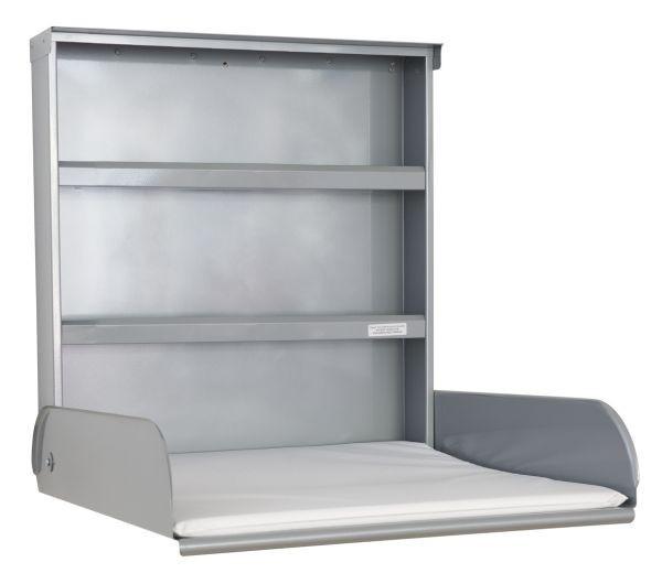 Stahlwickeltisch Klappbar mit Regalsystem und Wickelauflage - Pippi byBo Design Silber ByBo Design 10224