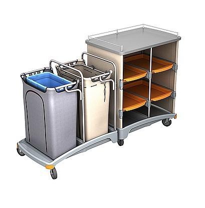 Splast Hotelwagen mit Regal, Abfallsackhalter 120l und Leinenbeutel 120l Splast TSH-0003,TSH-0004