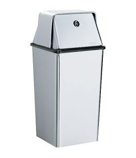 B-2250 freestanding waste bin 49,2L satin brushed stainless steel with top Bobrick B-2250