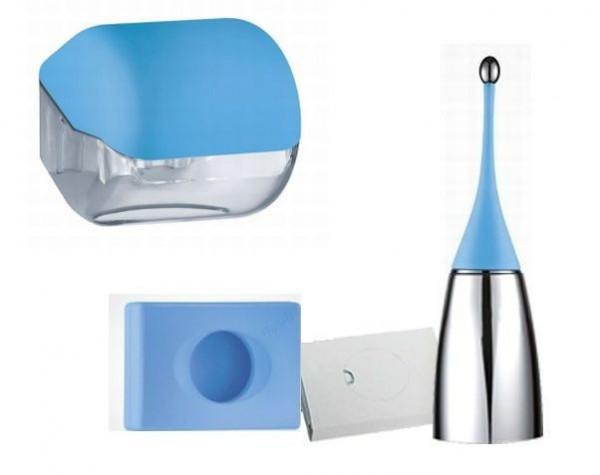 HS000584 Marplast Hygienespender SET aus Soft Touch Kunststoff in Blau