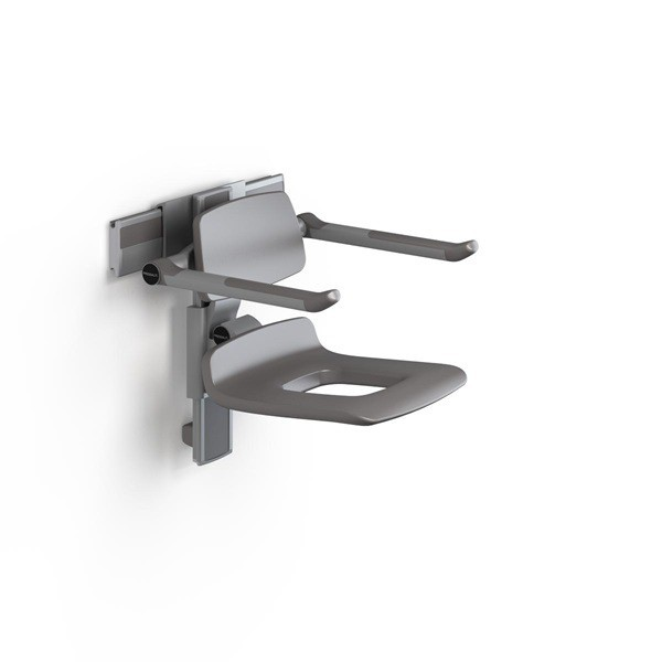 Pressalit height adjustable shower seat with apertures, backrest and armrests Pressalit R7451112000,R7451112112