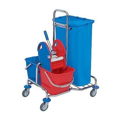 Splast chrome cleaning trolley with buckets, waste bag holder 120l and wringer Splast SER-0004,SER-0005