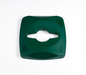 RUBBERMAID commingle lid for mixed recycling in green or blue made of plastic