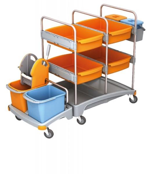 Splast mobiles Plastik-Putzsystem - mit 4 Fächern, 2 Körben, Moppresse und Eimern Splast  TSZ-0009