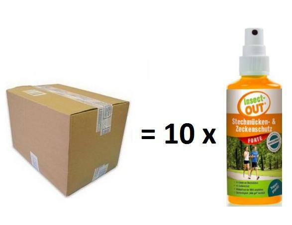 Set 1 Karton mit 10 Stück Insect-OUT® Stechmücken und Zeckenschutz forte 100 ml