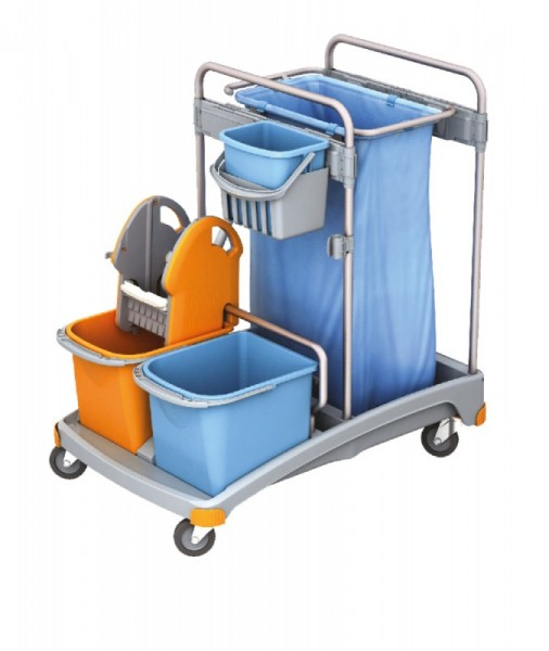 Splast plastic cleaning trolley with buckets, bag holder 120 l, wringer and trays Splast TSS-0003