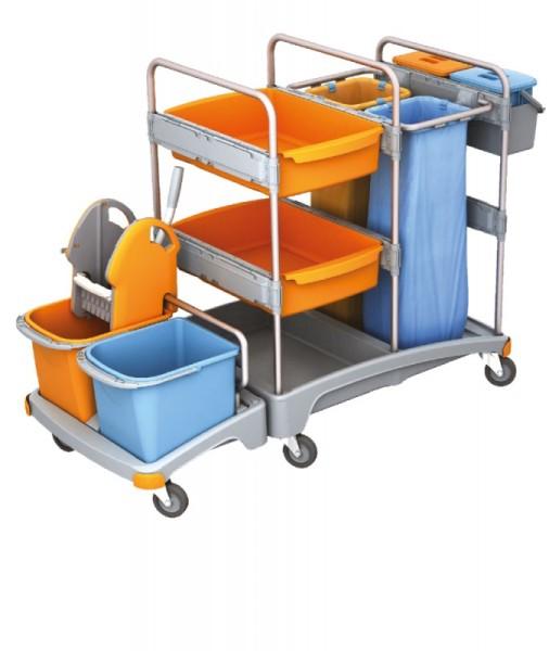 Splast Putzwagen mit Moppresse, 2 Beutelhaltern und Eimern - 2x 6l Eimer optional Splast TSZ-0017,TSZ-0018
