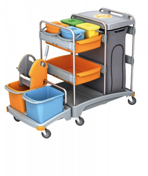 Splast cleaning trolley with bag holder, wringer, buckets, shelf and 4 small buckets Splast TSZ-0020