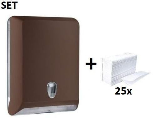 SET Marplast papertowel dispenser made of plastic MP830 brown + papertowels Marplast S.p.A. MP830,10102
