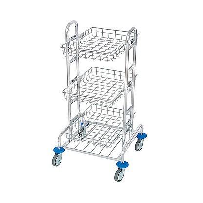 Splast chrome MIDI trolley with 3 baskets - waste bag holder is optional Splast MID-0001,MID-0002