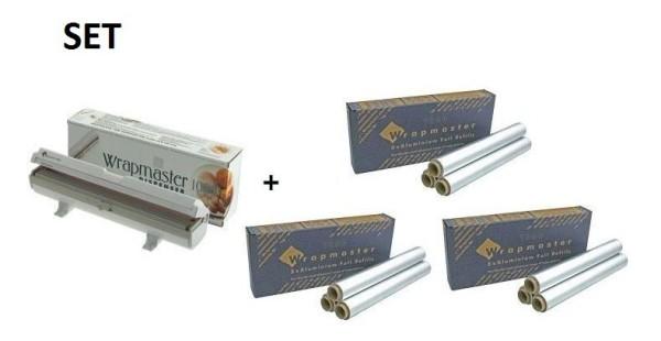SET Effizienter Wrapmaster-Spender WM1000 und 3 Pack. Aluminiumfolie 1000 Wrapmaster 63M10,3x34C27