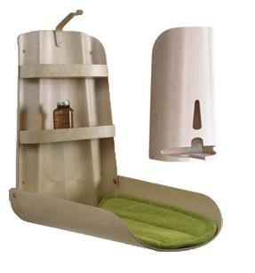 Set - Holz Wickeltisch Nathi Klappbar + Windelspender + 2 Auflage - Design Natur ByBo Design SET Nathi/ Nappyrette