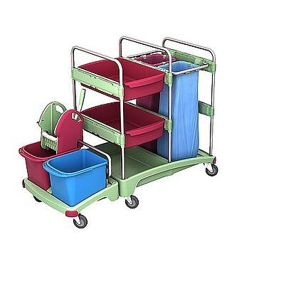 Splast Antibakterieller Reinigungswagen mit Moppresse, 2x 70l Beutelhalter, Regal Splast TSZA-0017