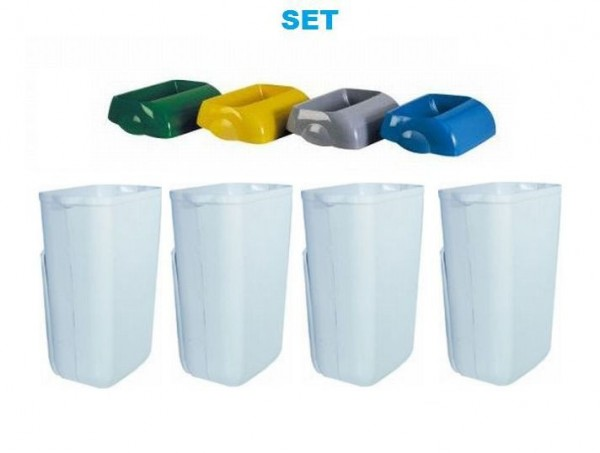 SET Abfalltrennung ''Hidden'' - 4x Marplast MP742 Mülleimer 23L Weiss + 4x Deckel Marplast S.p.A. MP742,MP744