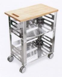 Graepel High Tech P.U.B. Kitchen Trolley aus Edelstahl mit Holzschneidebrett Graepel Hightech K00042301