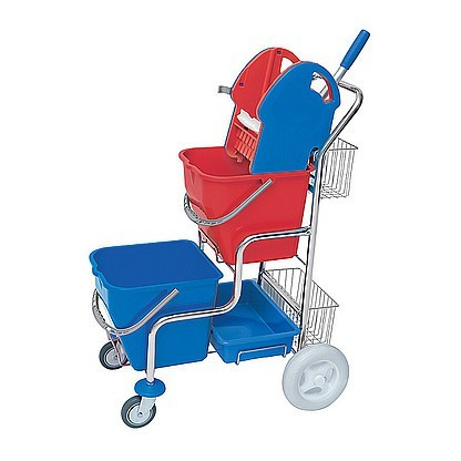 Splast chrome cleaning trolley with wringer, 2 baskets and 2 buckets each 20l Splast SER-0003