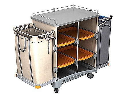 Splast hotel cleaning trolley with linen bag 125l and waste bag 125l + covering Splast TSH-0005