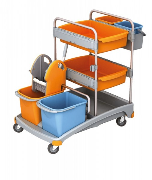 Splast cleaning trolley set with 4 buckets, wringer, plastic base and 2 baskets Splast TSS-0012