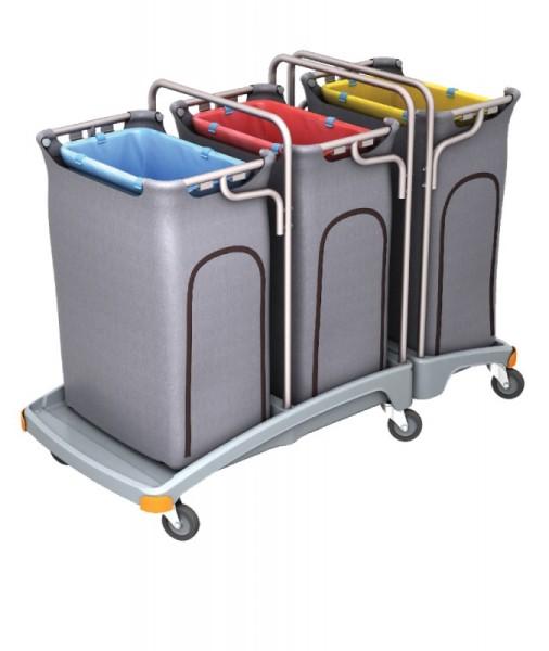 Splast Dreifacher Müllentsorgungswagen 3 x 120l mit Abdeckung - Deckel optional Splast TSO-0011,TSO-0012