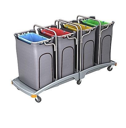 Splast Vierfachabfallwagen aus Plastik 4x 120l mit Seitenabdeckung, Deckel optional Splast TSO-0015,TSO-0016