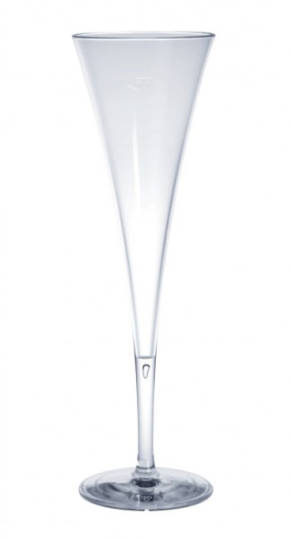 12 piece of champagne flute of plastic reusable 0,1l crystal clear food safe Schorm GmbH 9035
