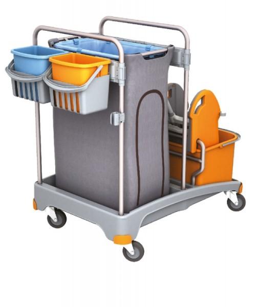 Splast Reinigungswagen-Set mit Plastikbasis, Beutelhalter, 2 Eimern und Mopppresse Splast TSS-0006