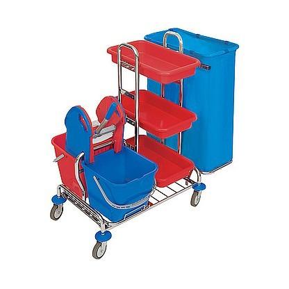 Splast verchromter Wagen mit Moppresse und Regal - Beutelhalter 1x oder 2x 120l Splast ZS-0001,ZS-0009
