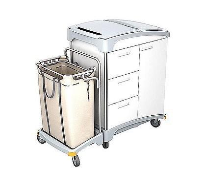 Splast wooden hotel trolley with 3 drawers, waste bag holder and linen bag 120l Splast TSH-0009
