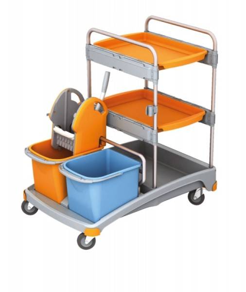 Splast cleaning trolley set with 2 trays, wringer, 2 buckets and a plastic base Splast TSS-0013