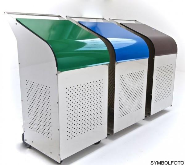 G-Line Pro Abfalleimer Ecobin aus poliertem Edelstahl 1.4301 Aluminiumdeckel Blau G-line Pro K00032105