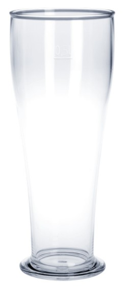 Wheat beer glass 0,3L / 0,5L SAN crystal clear of plastic reusable and robust Schorm GmbH 9073,9042