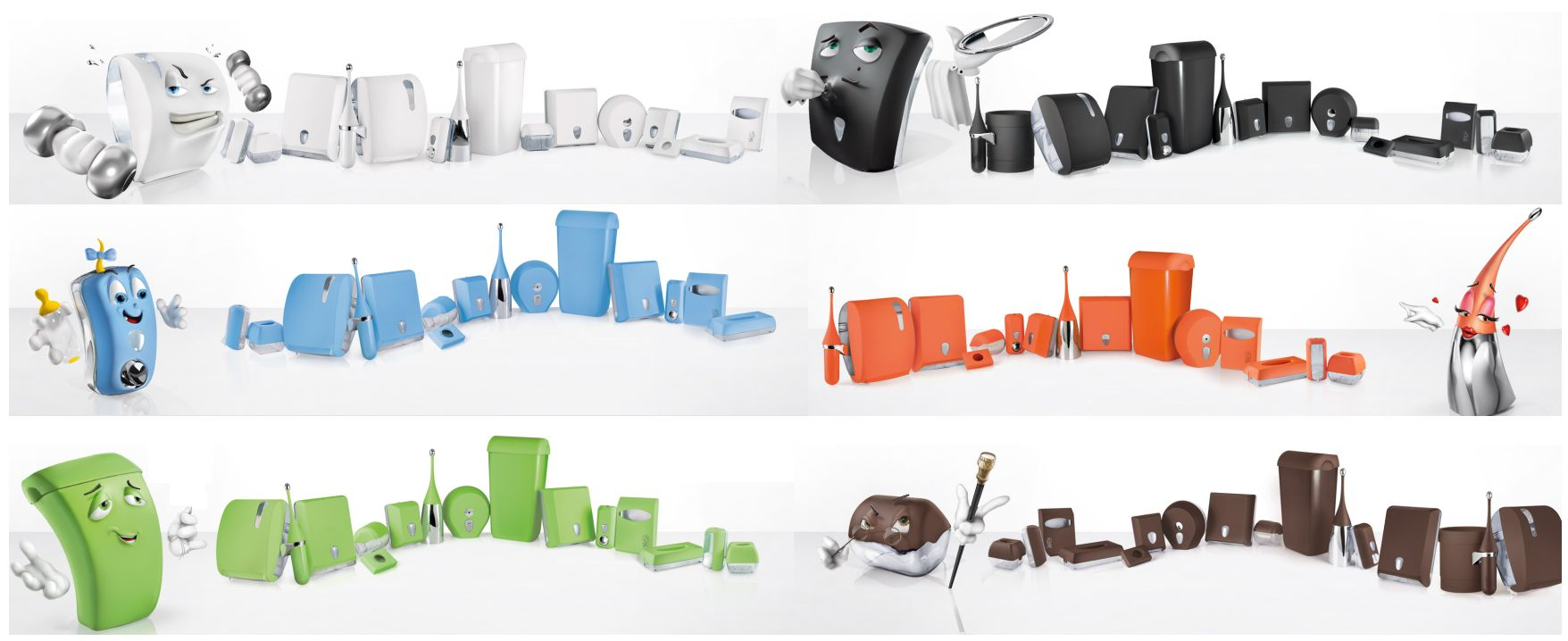 Soap-Dispensers-Black-White-Green-Blue-Orange-Brown-Design-Lines