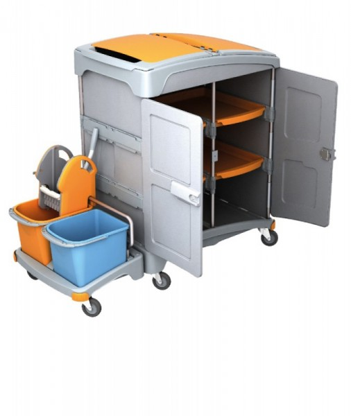 Splast mobile plastic wet cleaning system with shelf, wringer and buckets Splast TSZZ-0002