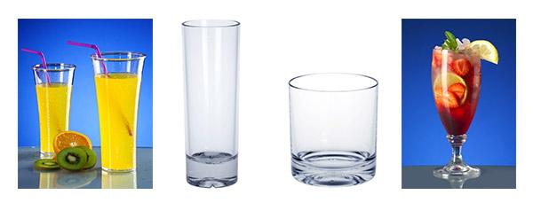 Kunststoff Cocktailglas und Mehrweg Whisky Glas