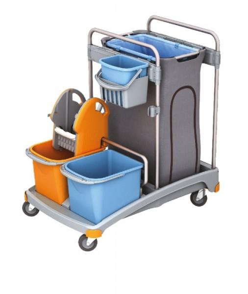 Splast trolley set with a plastic base, buckets, waste bag holder and wringer Splast TSS-0005