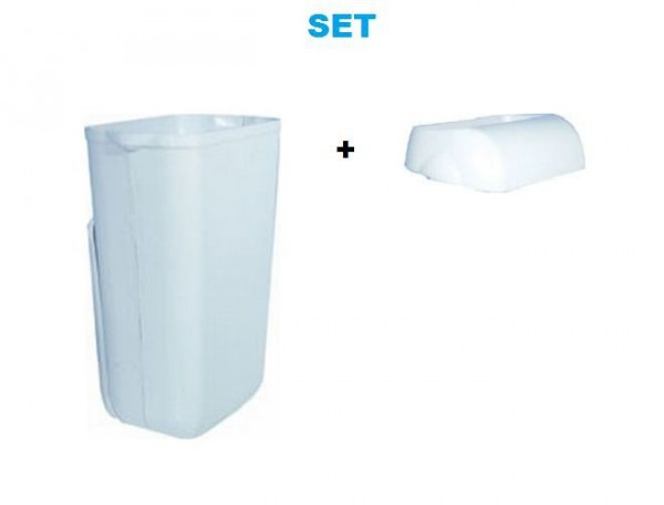Set - Marplast dustbin 23L White MP 742 - with insertion opening cover Marplast S.p.A. MP742,744