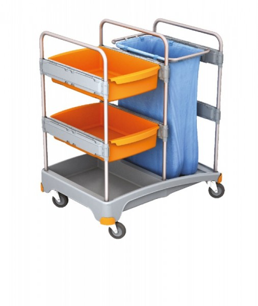 Splast mobile cleaning system made of plastic with 2 trays and waste bag holder Splast TSZ-0011